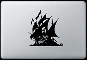 Glowing Skull Pirate Ship - Sticker Decal MacBook, Air, Pro All Models