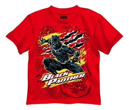 (Mad Engine Marvel Black Panther Boys' Panther Party Tee, Red)