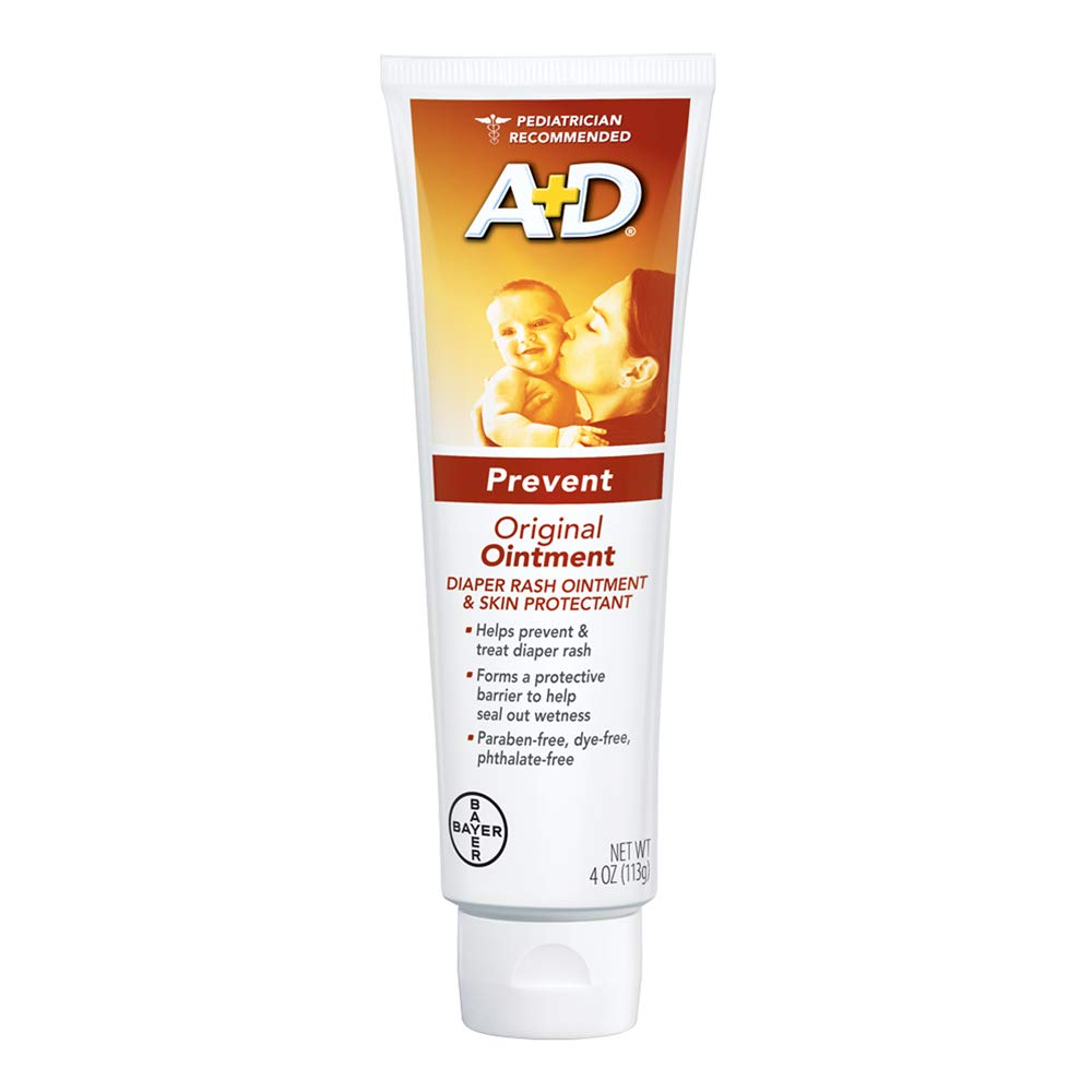 A+D Original Diaper Rash Ointment, Baby Skin Protectant With Lanolin and Petrolatum, Seals Out Wetness, Helps Prevent Diaper Rash, 4 Ounce Tube