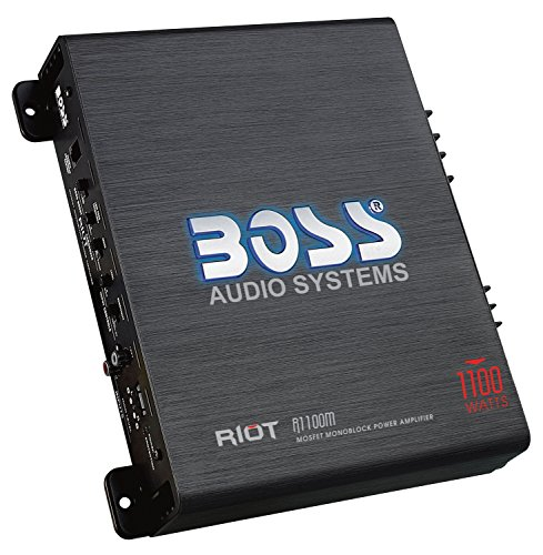 BOSS Audio R1100M Car Amplifier  1100 Watts Max Power, 2/4 Ohm Stable, Class A/B, Monoblock, MOSFET Power Supply, Remote Subwoofer Control