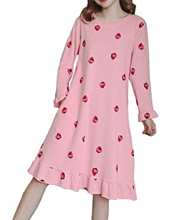 415a0e0d10 Vopmocld Long Nightgown Cute Strawberry Pattern Nightdress for Big Girls  Size 8-17 Years