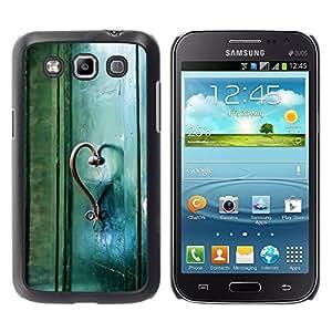 TopCaseStore / la caja del caucho duro de la cubierta de protección de la piel - Teal Heart Door Photo Beautiful Meaning - Samsung Galaxy Win I8550 I8552 Grand Quattro