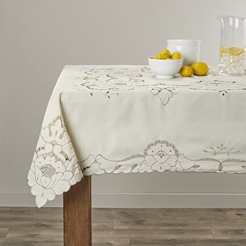 (Violet Linen Sapphire Embroidered Design Tablecloth, 60