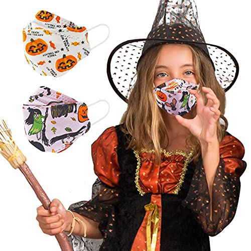 Halloween Kids Mask 10 PCS, KF94 Kid Sized Small Mask Designed for Children, Festival Cute Fun Pumpkins Pattern Mask for Holiday Season, 4-Ply Breathable Comfortable Soft Mask with Adjustable Fit