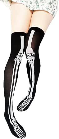 Tabbi Socks Skeleton Over Knee Socks-Black-OS