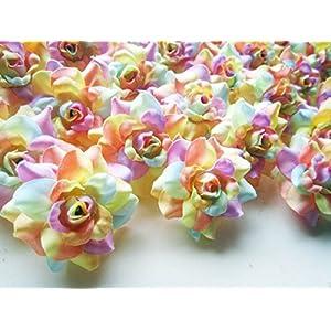 "(100) Silk Light Rainbow Roses Flower Head - 1.75"" - Artificial Flowers Heads Fabric Floral Supplies Wholesale Lot for Wedding Flowers Accessories Make Bridal Hair Clips Headbands Dress 3"