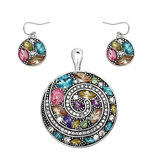 Journey Path Crystal Disc Necklace Pendant & Earring Set Gingers Jewels
