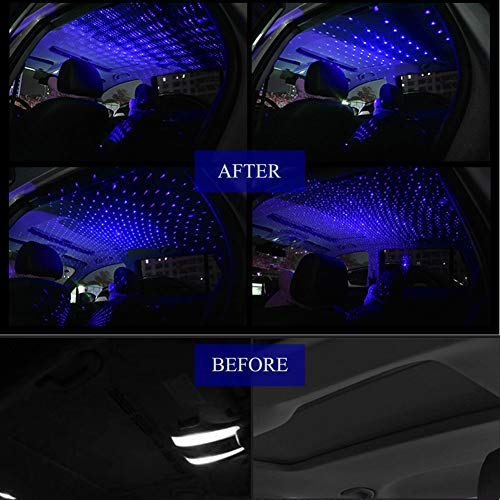 Car USB Atmosphere Ambient Star Projector Night Light Car Interior LED Decorative Lights Adjustable Romantic Car Roof Light Blue Color