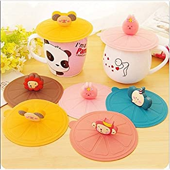 Tovip 5PCS New Cute Anti-dust Silicone Glass Cup Cover Coffee Mug Suction Seal Lid Cap,Random Colors and Random Modelling