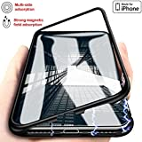Magnetic Adsorption Case for IPhone X - Clear Tempered Glass Back [Metal Frames] Full Body Slim Fit Ultra-Thin Case Lightweight, Luxury Transparent Magnet Case IPhone X/10 - New Ultra Protective Cover