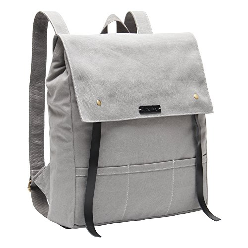 Hynes Eagle Urban Traveler Canvas Backpack Fits 15.6 inch Laptop Light Gray by Hynes Eagle (Image #1)
