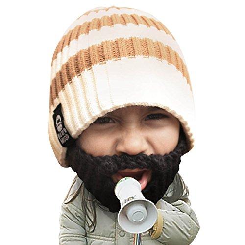 Beard Head Kid Scruggler Beard Beanie -Knit Hat and Fake Beard for Kids Toddlers Black ()
