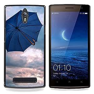 Umbrella Blue Rain Depression Spring Clouds Caja protectora de pl??stico duro Dise?¡Àado King Case For Oppo Find 7 X9007