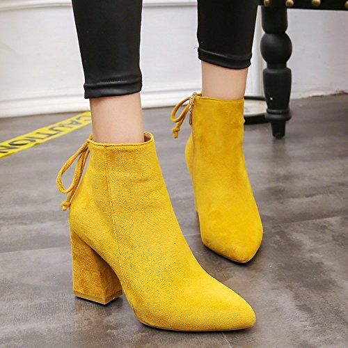 Altas Botas Yukun Yellow Martin Botas De zapatos Gruesas con alto Alto Botas Botas Escarpines de Tacón Salvajes tacón rwOZxqfr