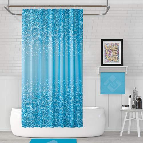 American Bath Linen ABL Mosaic Blue Print Shower Curtain. Size 71