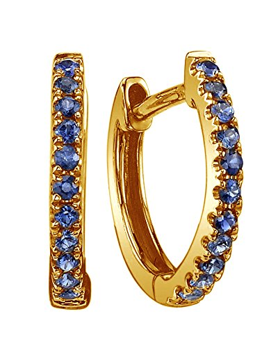 Cyber Monday Deals 18K Yellow Gold Over Sterling Silver Simulated Blue Sapphire Single Row Hoop Earrings