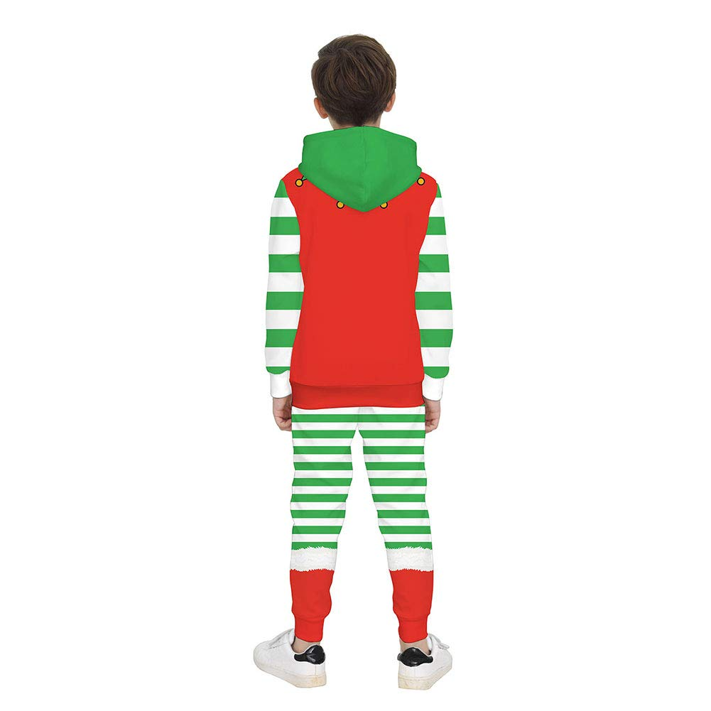 HugeHard Christmas Girl Boy Costume 3D Printed Hooded Sweater Long Sleeve Pants Suit