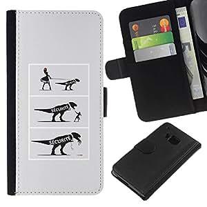 NEECELL GIFT forCITY // Billetera de cuero Caso Cubierta de protección Carcasa / Leather Wallet Case for HTC One M9 // COMIC dinosaurio divertido
