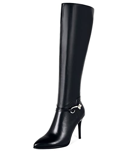 4cd3efedddf Nine Seven Genuine Leather Women's Pointed Toe Stiletto Heel Side Zip  Handmade Classy Dressy Knee High Boots