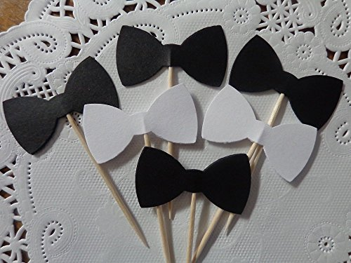 Black and White Bow Tie Cupcake Toppers - Food Picks - Party Picks - Bowtie Tuxedo Wedding Toppers (Set of (Bow Tie Cupcakes)