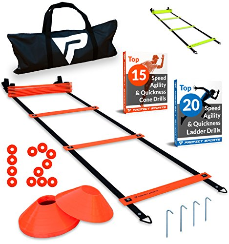 Pro Agility Ladder and Cones – 15 ft Fastened-Rung Speed Ladder with 12 Disc Cones for Soccer, Football, Sports Training – Includes Heavy Duty Carry Bag, 4 Metal Stakes and Top 20 Agility Drills eBook – DiZiSports Store