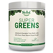 SUPER GREENS | #1 Green Veggie Superfood Powder | 20 Organic Food Ingredients: Spirulina, Chlorella, Spinach, and Barley Grass | Juice & Smoothie Drink with Probiotics + Enzymes | Soy & Gluten Free