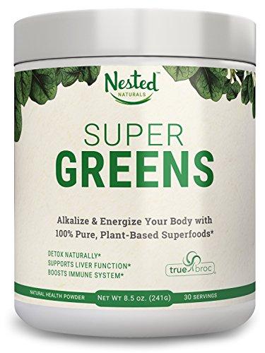 SUPER GREENS | Veggie Greens Superfood Powder - 20 Organic Ingredients: Spirulina, Chlorella, Spinach, Broccoli, Barley Grass + More - Plus Organic Fruits, Probiotics, and Enzymes | Non-GMO, No Soy
