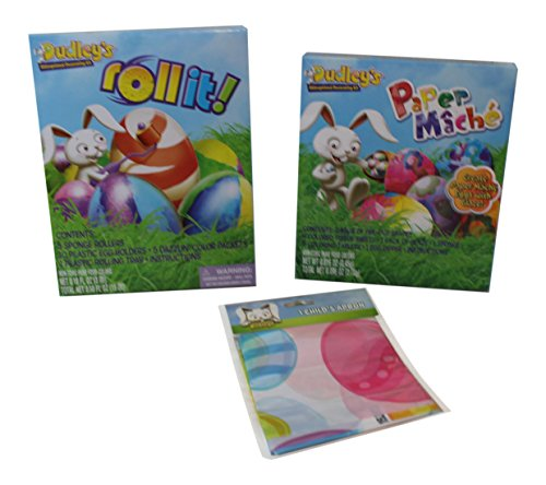 3 Pc Roll it and Paper Mache Easter Egg Decorating Kits and Child's Apron Paper Mache Easter Egg
