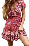 ZESICA-Womens-Summer-Wrap-V-Neck-Bohemian-Floral-Print-Ruffle-Swing-A-Line-Beach-Mini-Dress-Red
