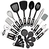 : Cooking Utensils Set 22-piece - Home Kitchen Tools - Stainless Steel & Nylon Gadgets - Turners, Tongs, Spatulas, Pizza Cutter, Whisk, Bottle Opener, Grater, Peeler, Can Opener, Measuring Cups & Spoon