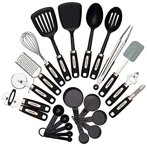 Cooking Utensils Set 22-piece – Home Kitchen Tools – Stainless Steel & Nylon Gadgets – Turners, Tongs, Spatulas, Pizza Cutter, Whisk, Bottle Opener, Grater, Peeler, Can Opener, Measuring Cups & Spoon