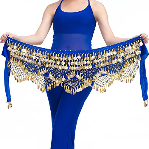 - Calcifer Belly Dance Belt Wrap Hip Scarf Skirt Waistband with 320 Coins (Royal Blue&Gold Coins, One Size)