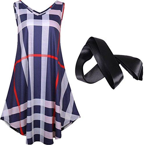 Midi Alax Sleeveless Blu Scollo Cotton Allentato Dress a Casual Cotton V zzxZ7