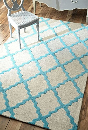 nuLOOM Varanas Collection Marrakech Trellis Contemporary Transitional Hand Made Area Rug, 5 Feet by 8 Feet, Turquoise