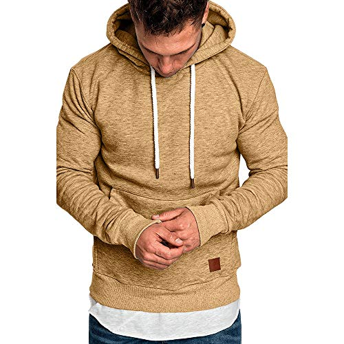(Realdo Big Mens Solid Casual Hoodie Autumn Winter Top Tracksuit with Pocket Khaki)