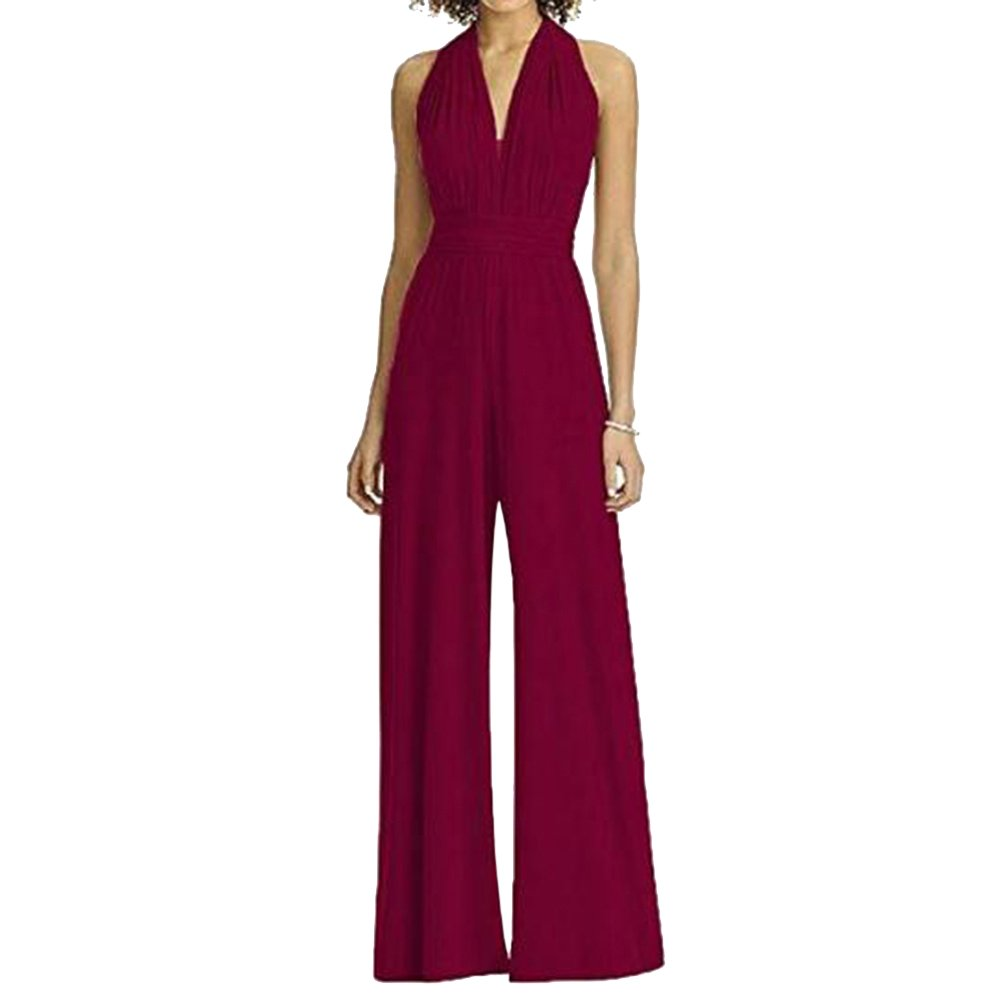Vertvie Women Off-The-Shoulder Halter Wide Leg Jumpsuit V-Neck Sleeves High Waist Playsuit (US 6-8/Tag M, Wine Red)