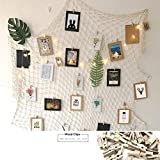 Photo Hanging Display Fish Net Wall Decorations Picture Frames Multi Photos Organizer with 40 Clips for Party Teens, Children Bedroom Living Room