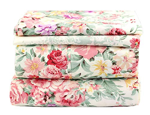 JAYCORNER 1800 Series Super Soft Egyptian Comfort 4pcs Sheet Set Microfiber Cottage Floral on Ivory (Queen)