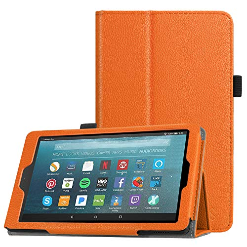 Fintie Folio Case for All-New Amazon Fire 7 Tablet (9th Generation, 2019 Release) - Slim Fit PU Leather Standing Protective Cover with Auto Wake/Sleep, Orange (7 Tablet Cases Orange)