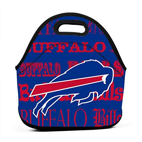 Weckim Buffalo Bills Classic Neoprene Portable Lunch Bag, Portable Lunch Bag, Travel, Picnic, School, Work Office