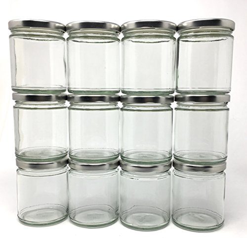 9 oz Straight Sided Glass Jar with Metal Silver Lid by Richards Packaging 12-pack (Glass Straight Sided)