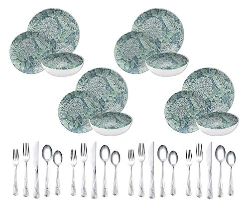 Better Homes & Gardens 12-Piece Melamine Dinnerware Set, Country Gatherings bundle with Corelle Coordinates 20-Piece Eloise Frost Flatware Set (Better Steel Forks Home Stainless)