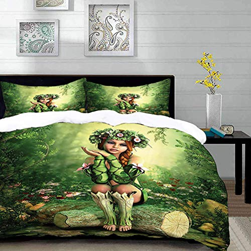 Duvet Cover Set,Fairy Theme Design,Computer Art Elf Girl with Wreath on Her Head Sitting on a Tree Stump Fantastic,Twin Size Decorative 3 Piece Bedding Set with 2 Pillow Shams,Brown Light Brown Cream