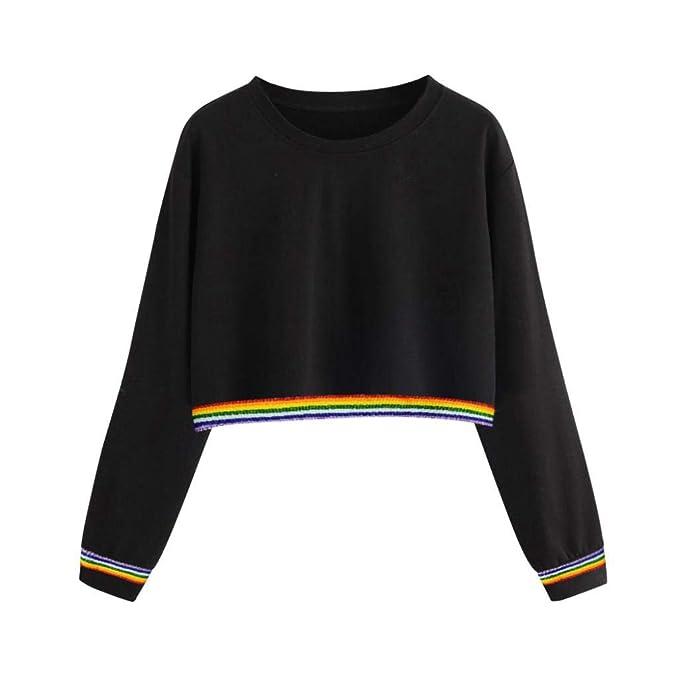 Bestow Ribbon Rainbow Long Sleeve Sweatshirt Jersey de Mujer Back Ribbon Sweatshirt Jersey de Mujer Color sš®Lido Back: Amazon.es: Ropa y accesorios