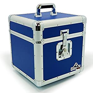 Gorilla 12″ LP Vinyl Record Storage Box Flight Case Blue Holds 100pcs inc Lifetime Warranty