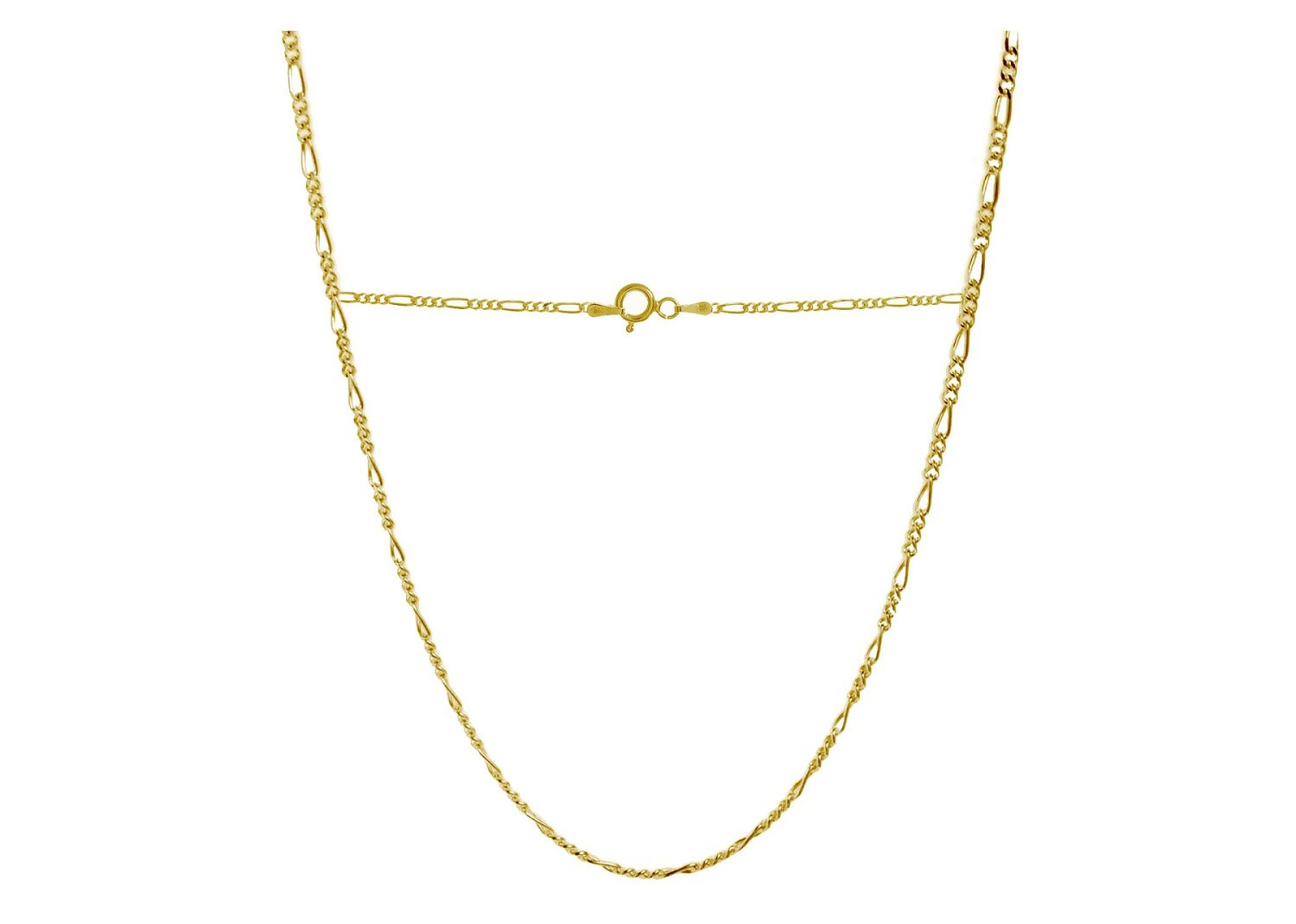 18 Karat Solid Yellow Gold Figaro Link Chain Necklace - 3+1 Link - Made In Italy- 26''