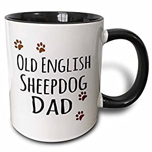 3dRose 153954_4 Old English Sheepdog Dad - Sheep Dog - Doggie by breed - brown paw prints Ceramic Mug, 11oz, Black/White 36