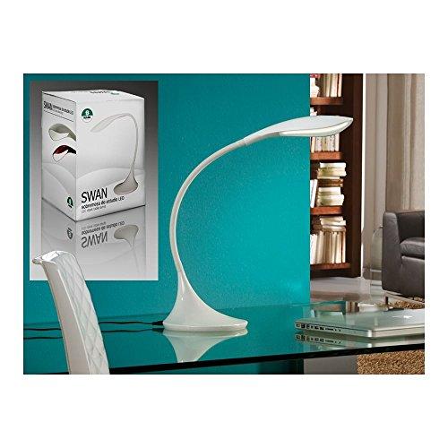 Schuller Spain 549221I4L Modern White Swan Neck Table Lamp 1 Light Living Room, bed room, Study, Bedroom LED, Adjustable swan neck desk lamp | ideas4lighting by Schuller