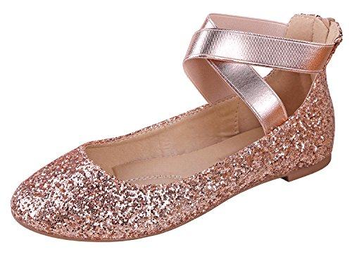 (ANNA Dana-20 Women's Classic Ballerina Flats with Straps, Champagne Glitter 8.5)