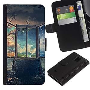 LASTONE PHONE CASE / Lujo Billetera de Cuero Caso del tirón Titular de la tarjeta Flip Carcasa Funda para Samsung Galaxy S5 Mini, SM-G800, NOT S5 REGULAR! / Art Deep Breathtaking Painting